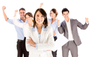 Successful business woman leading a team - isolated over white